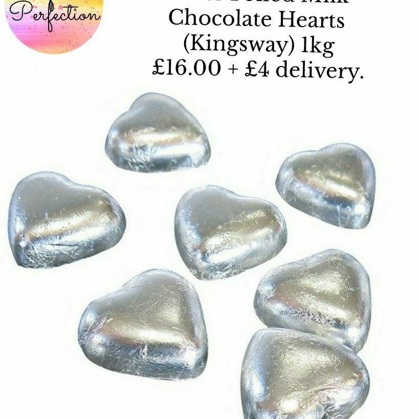 Silver Foiled Milk Chocolate Hearts (Kingsway) 1kg
