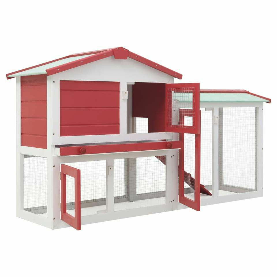 OUTDOOR RABBIT HUTCH RED AND WHITE