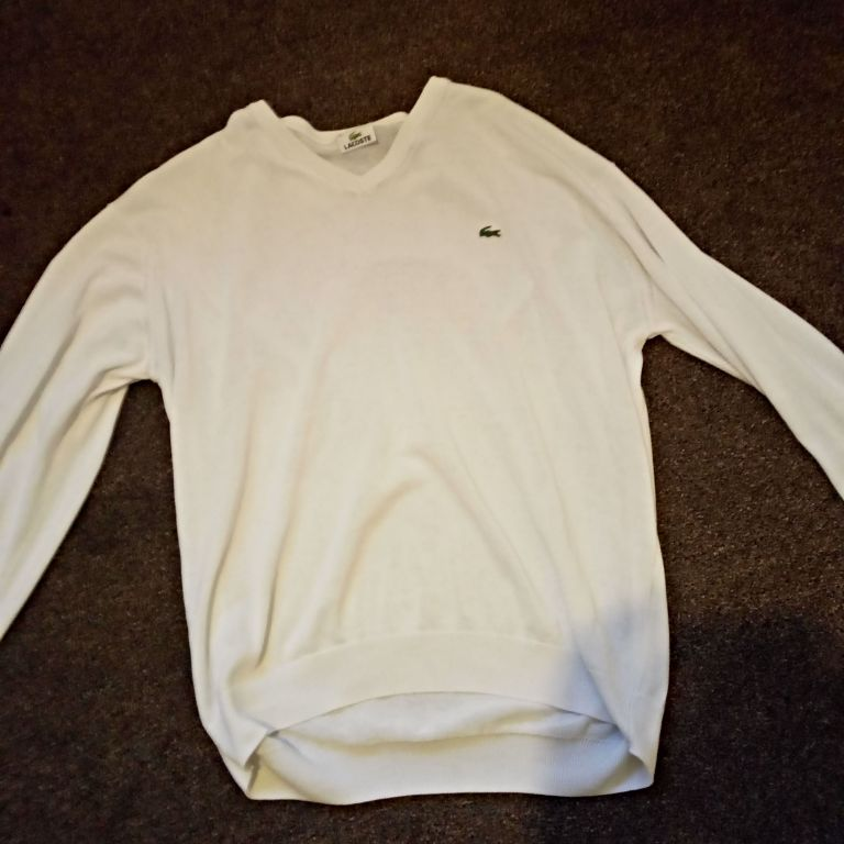 Mens white Lacoste jumper