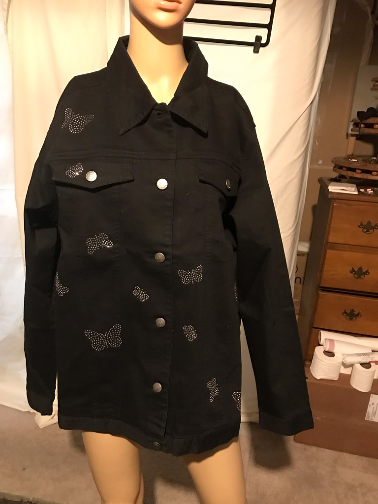 The Quacker Factory Black Rhinestone Butterfly Jacket