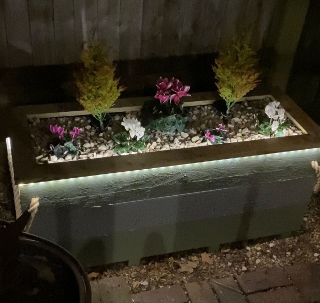 Unique hand made painted wooden planters