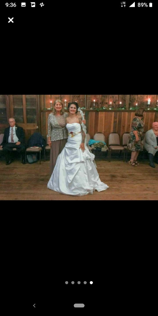 Wedding dress and shoes and veil