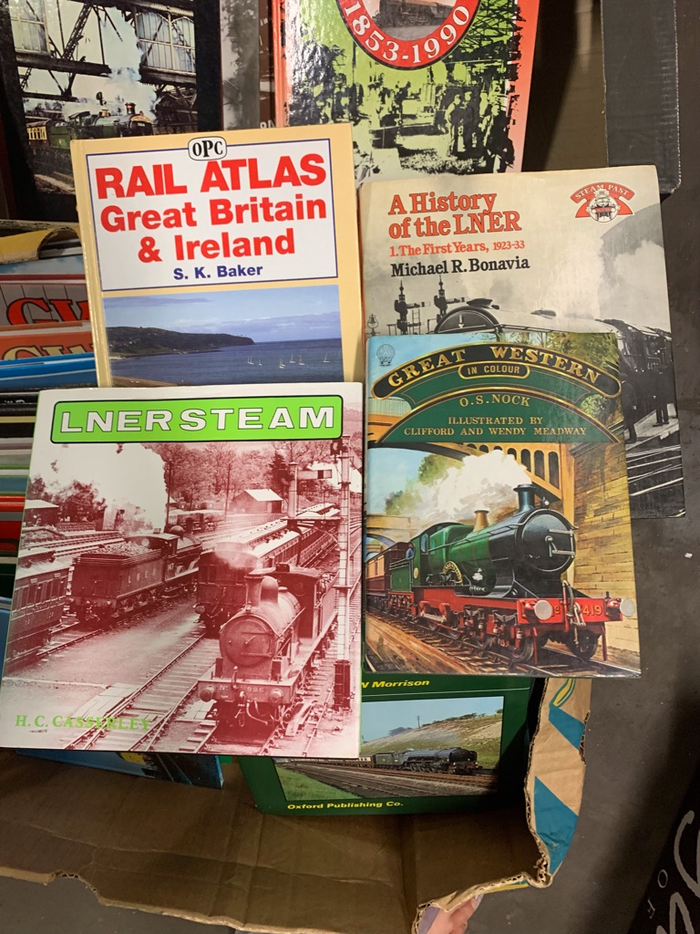 2  x Large Banana Boxes of Quality Railway Books