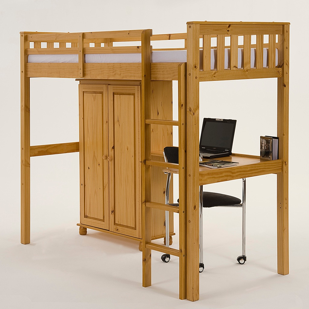 High Sleeper Bunk with Desk and Wardrobe