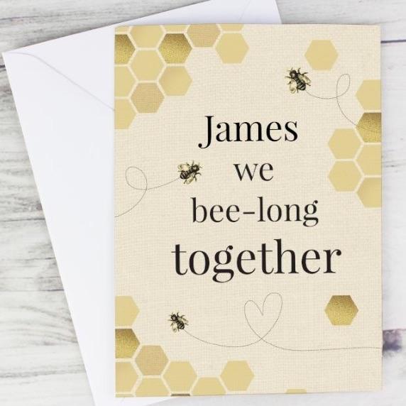 Personalised 'we bee long' greeting card