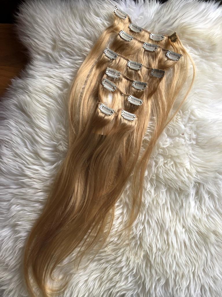 Clip in hair extensions blond Brazilian Hair
