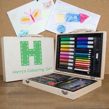 Personalised children's colouring in set a handy case