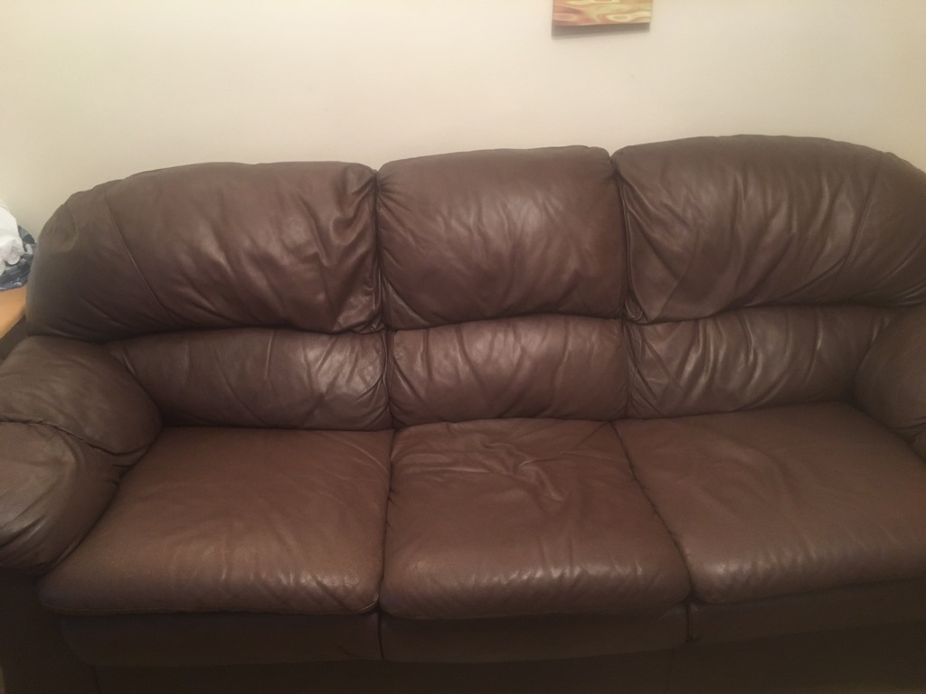Free - 3/4 seater faux leather sofa