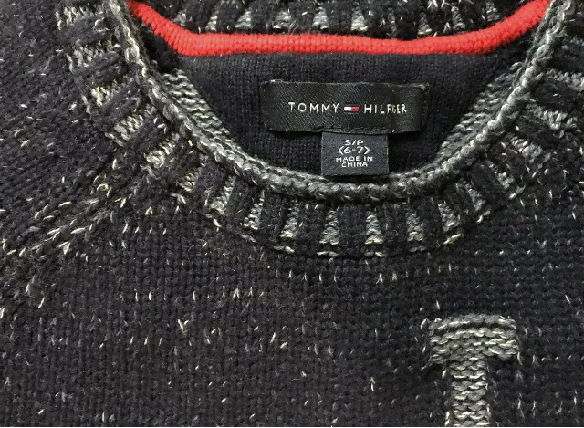 TOMMY HILFIGER Lovely Navy Mix Cotton Jumper Size S (6-7) Excellent Condition