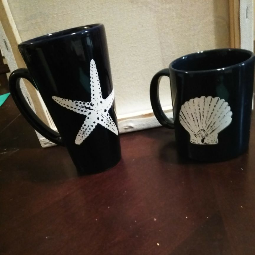 Seashell coffee cup set of 2
