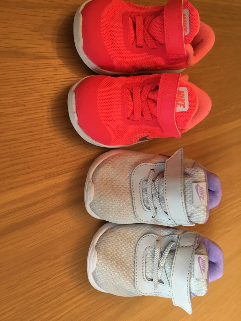 2 pairs of toddler girls Nike trainers size 4.5