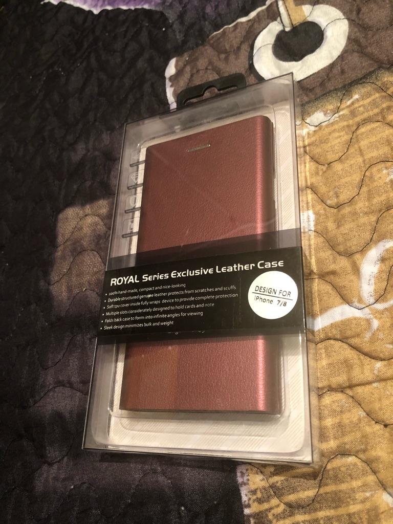 iPhone 7/8 leather folio case red