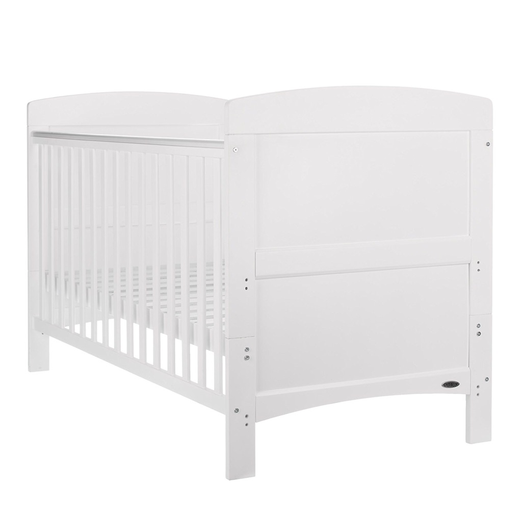 White cot with mattress etc