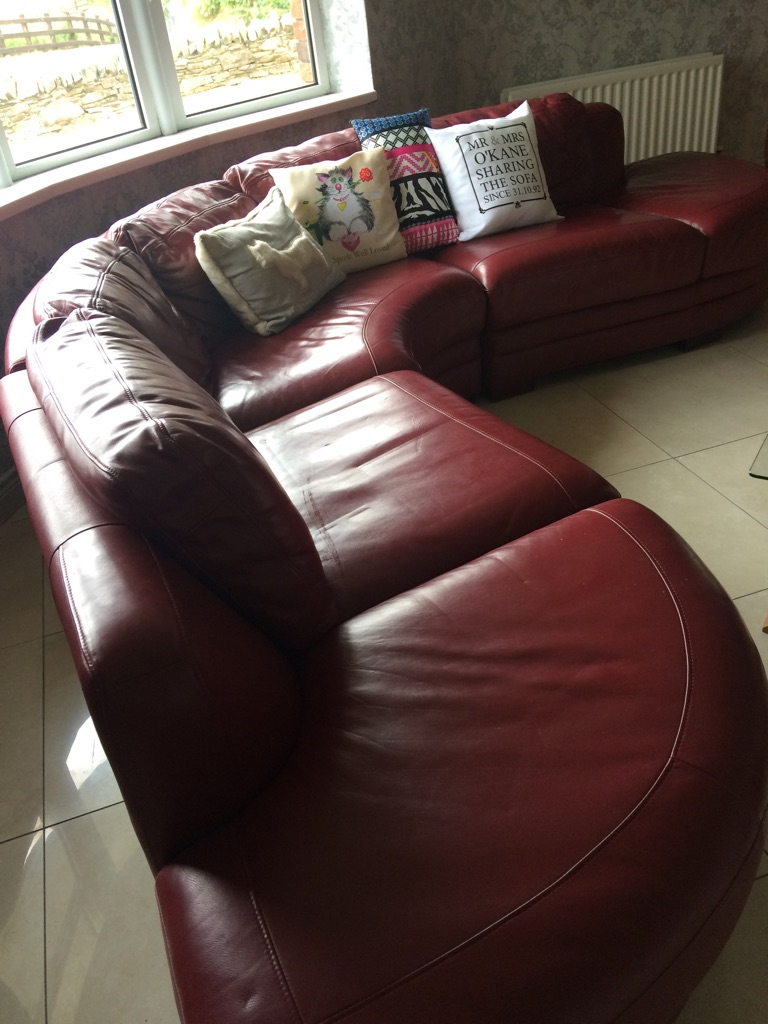 Dfs Red Leather Sofa Village