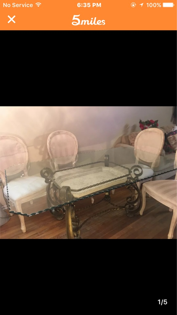 Versace inspired Glass dining table with 6 chairs