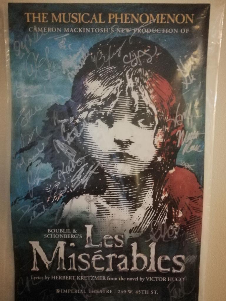 Les miserables poster with original cast signatures