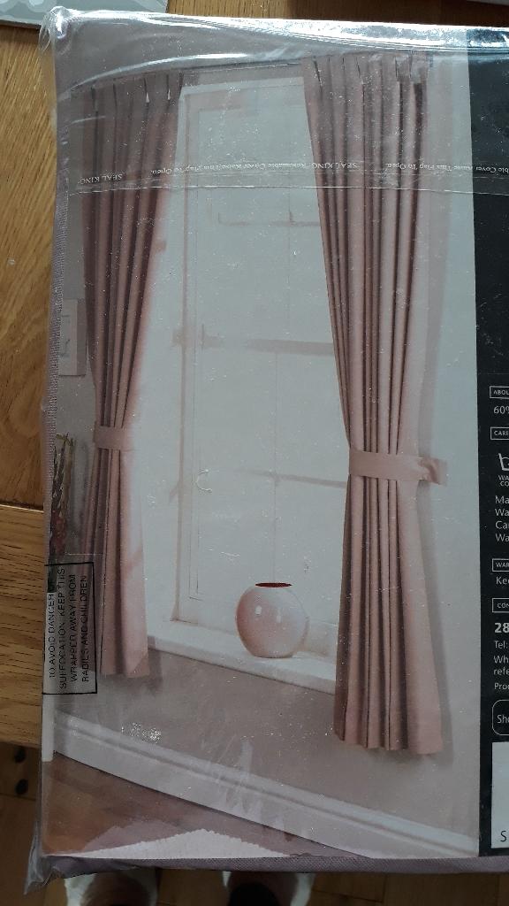 Dusky pink tab top curtains