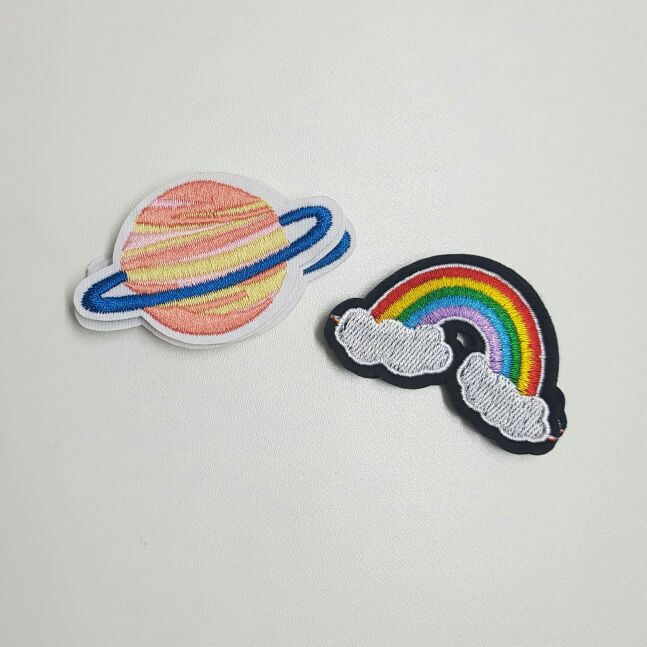 2 Sky Patch Set (Sew On) Saturn Planet & Rainbow