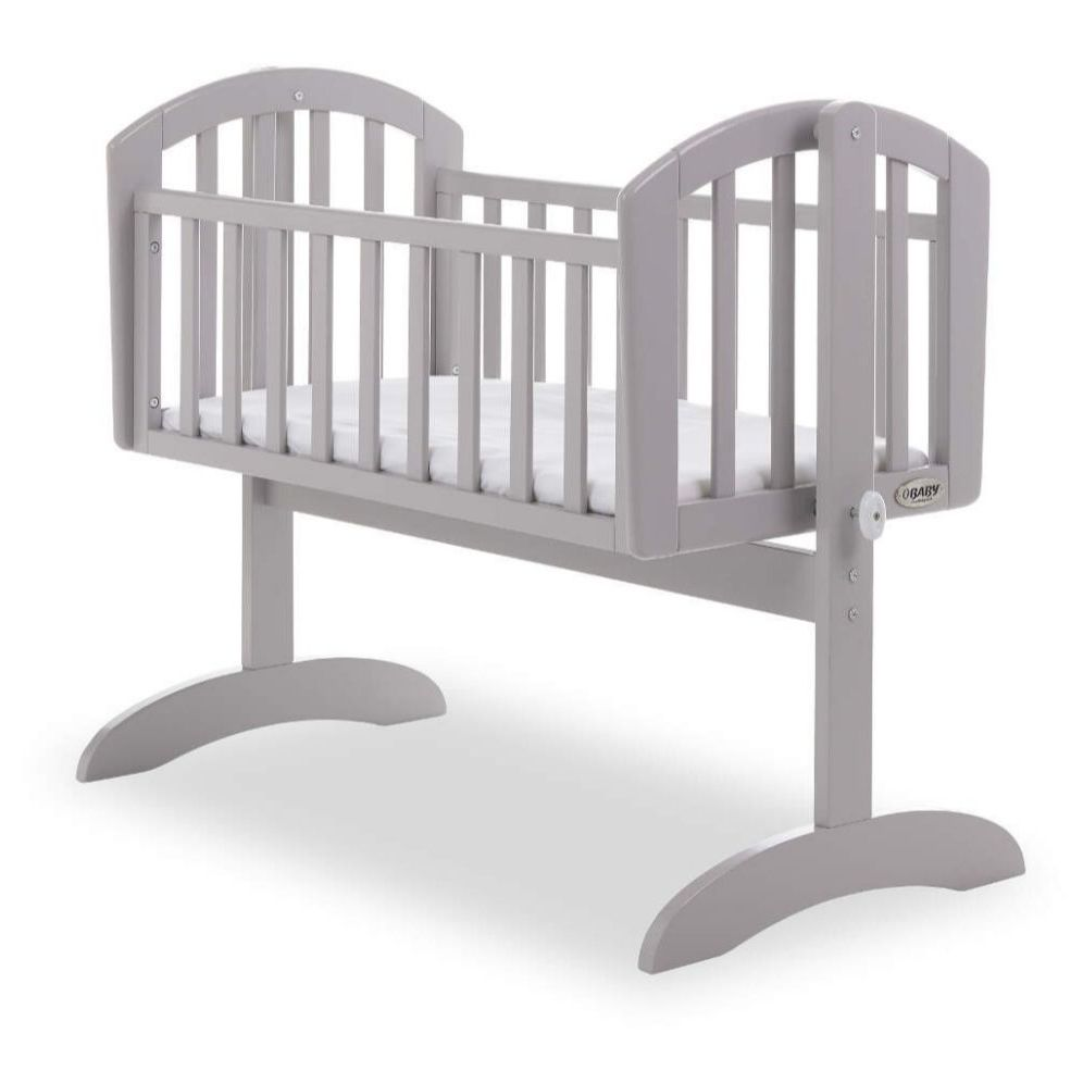 Grey rocking crib with mattress