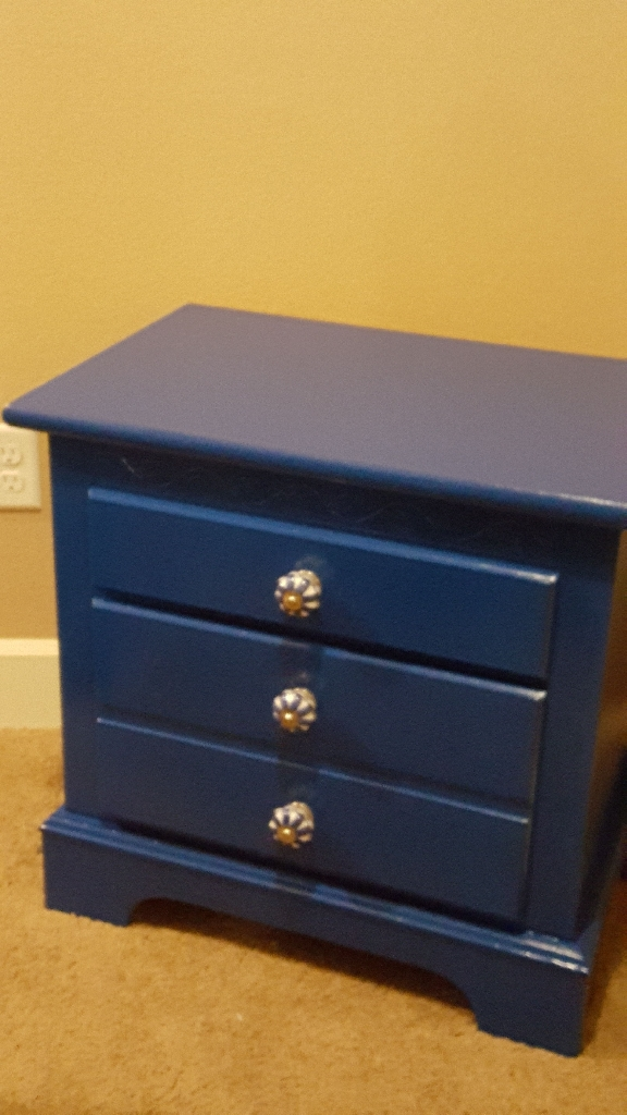 Royal Blue Side Table With Ceramic Knobs
