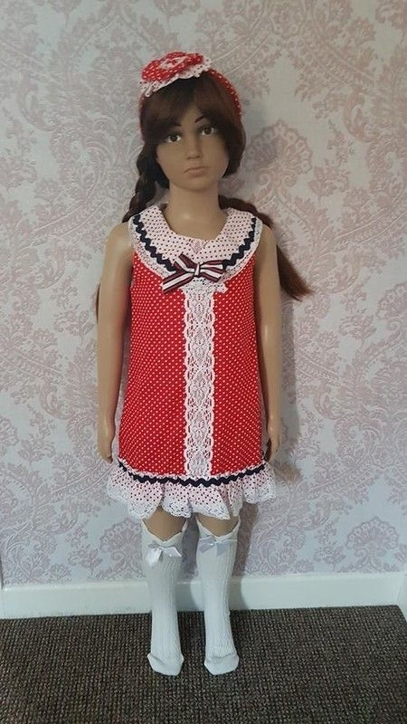 Age 10 polka dot spanish dress/headband