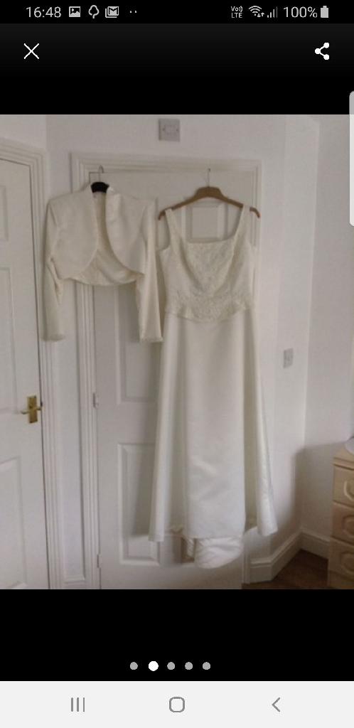 IVORY SILK WEDDING DRESS WITH BOLERO JACKET
