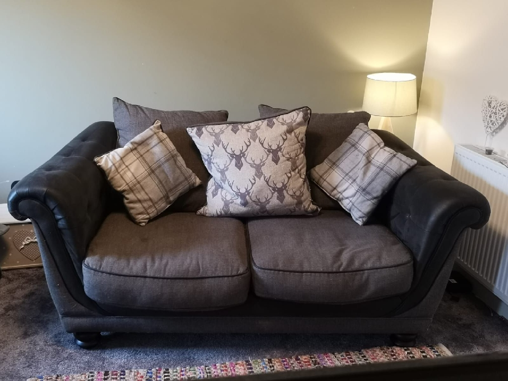 2 Seater SCS Scatter Cushion Sofa Grey