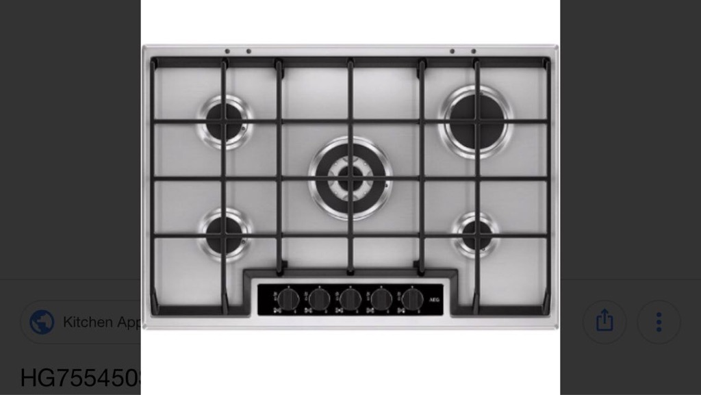 AEG HG755450SY | 75cm 5 Burner Gas Hob with Wok Burner - Stainless steel