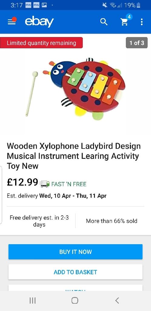 Wooden Xylophone Ladybird Musical Instrument