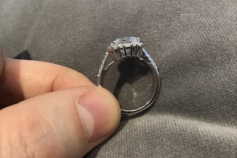 2.6 Carat Diamond Princess Cut Halo Engagement Ring Platinum Finish N & Half