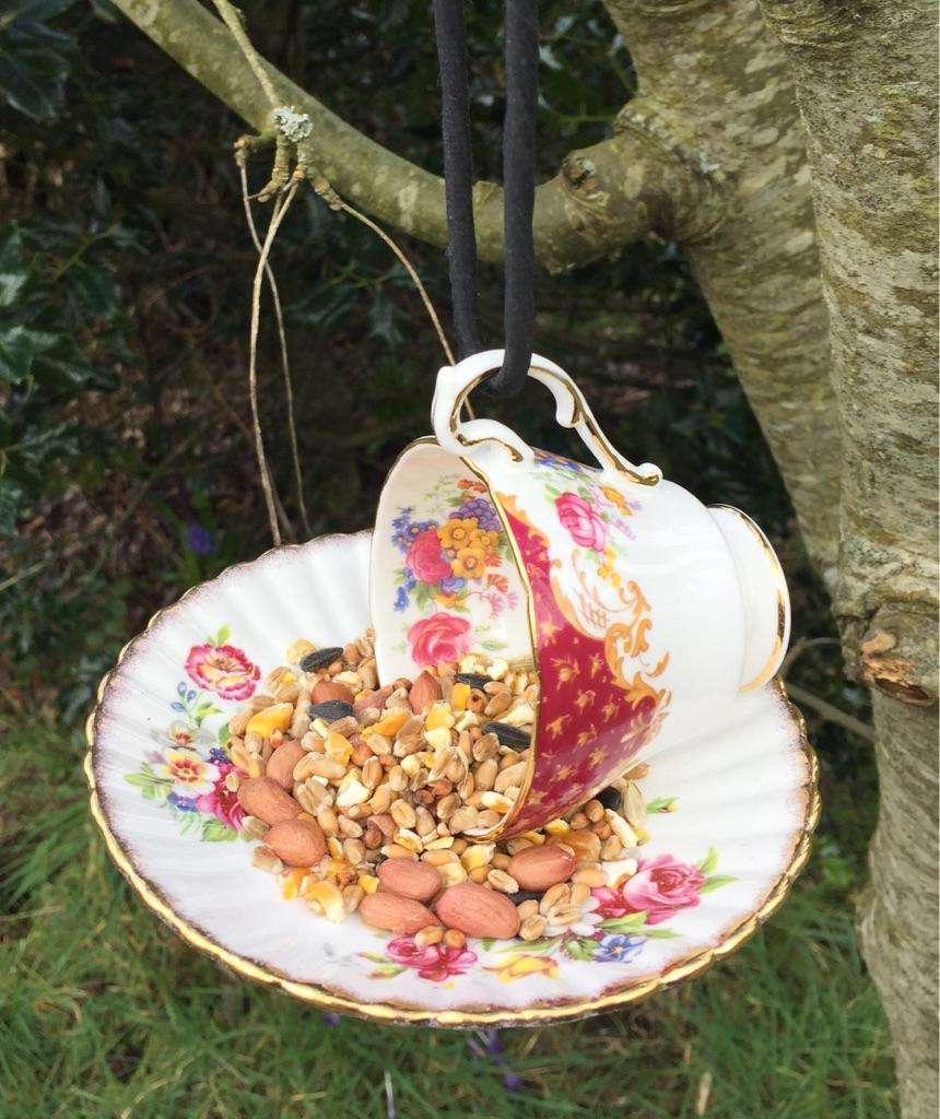 China tea cup and saucer bird feeders