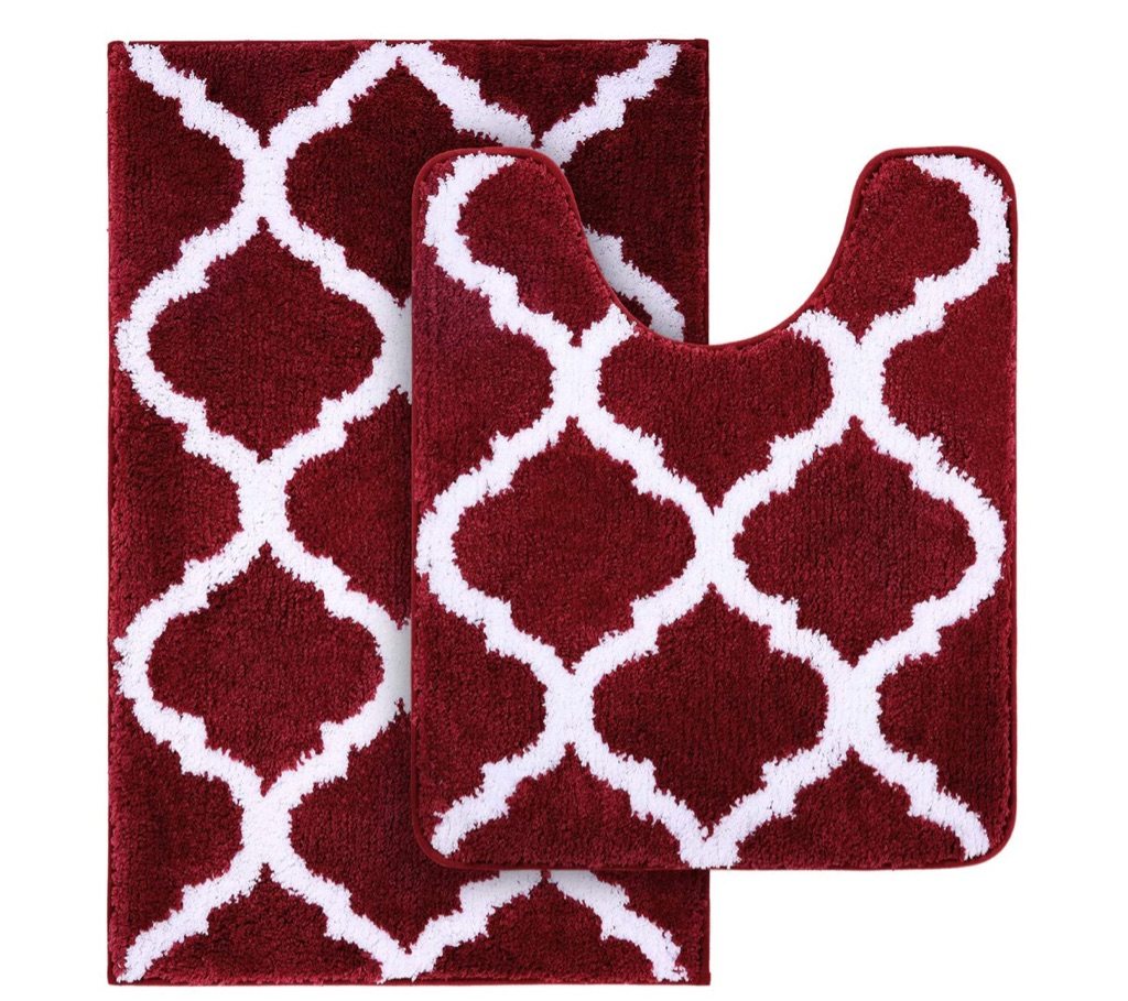 Non-Slip Bath Mat Set - 2 Pieces- Red