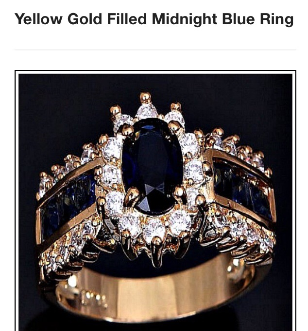 Yellow gold filled midnight blue ring