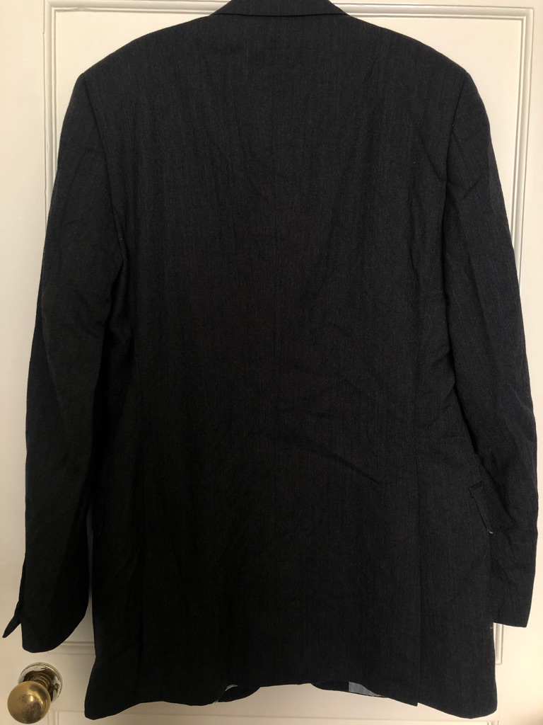 Men's Dark Grey Savoy Taylors Guild Jacket with Shoulder Pads + Hidden Pockets