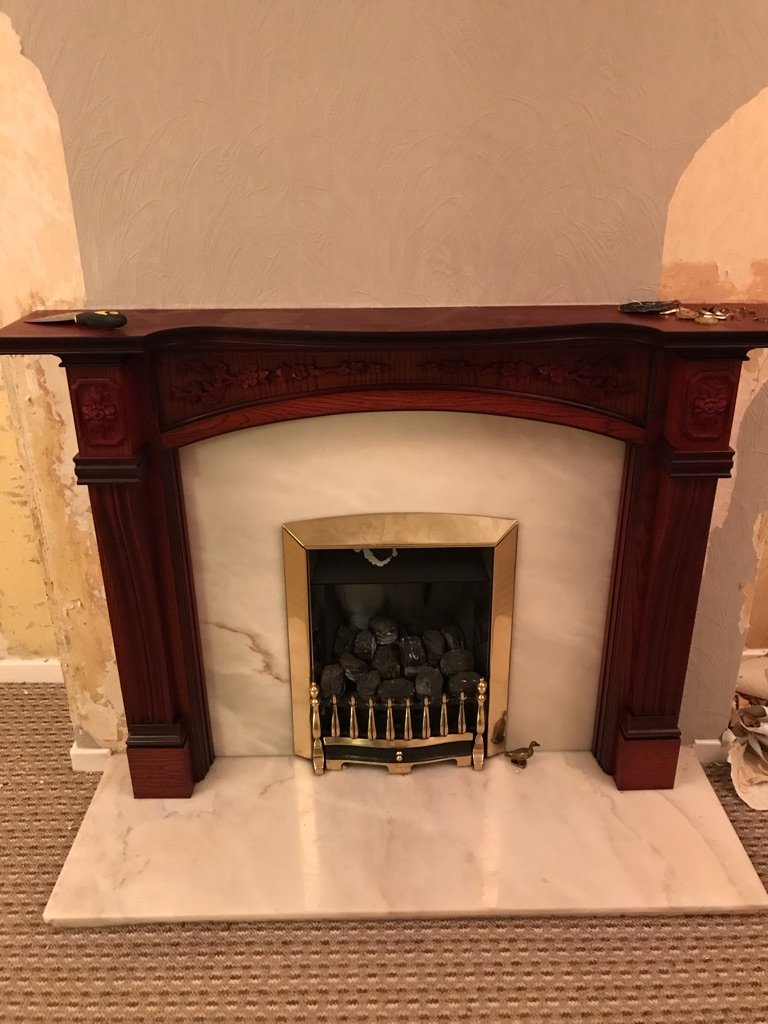 Fireplace & marble hearth