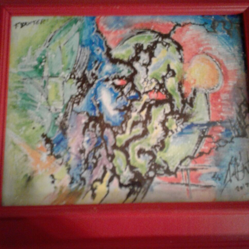 Framed abstract painting.