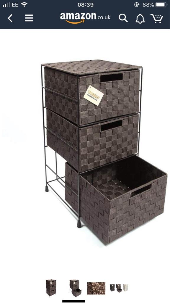 Wicker 3 drawer chest