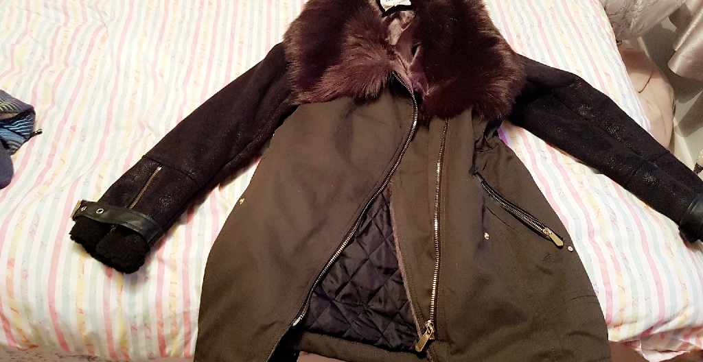 River island fur coat collar