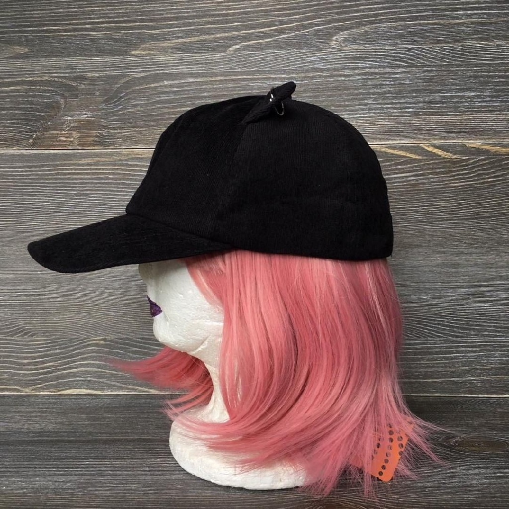 Black suede cat ears hat adjustable