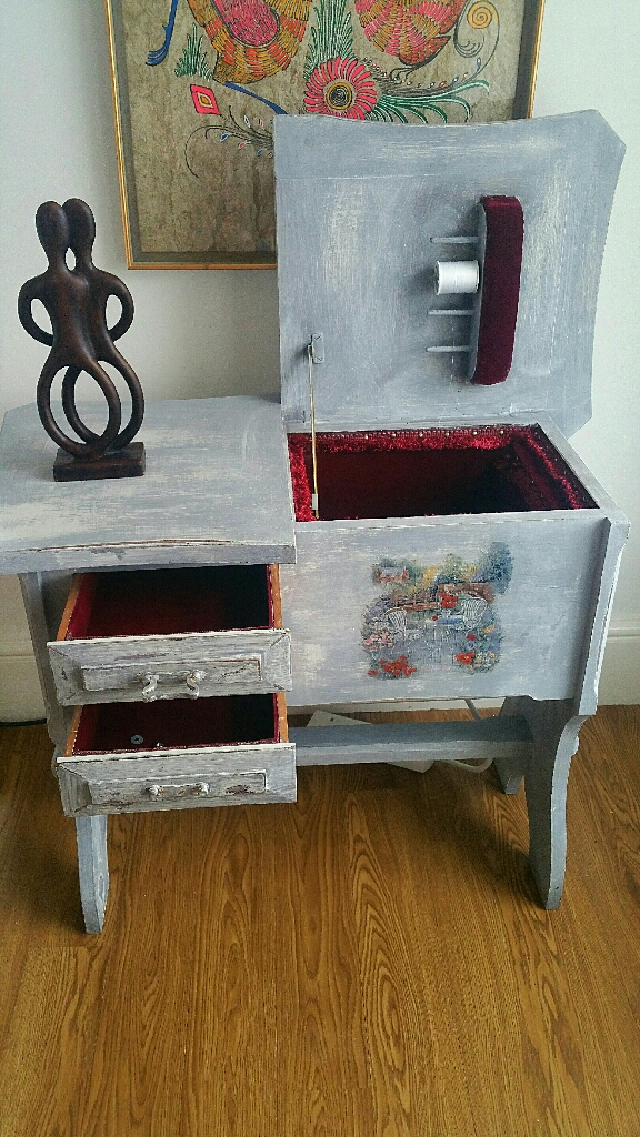 Solid upcycled sewing cabinet