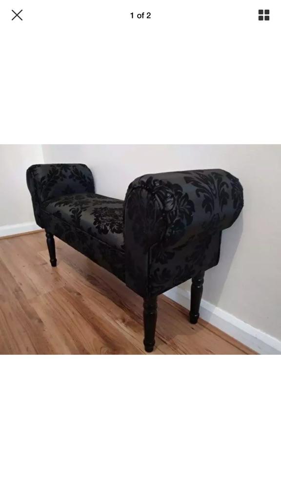 Black Boudoir Damask Chaise Longue Chair Couch Antique Bench Decorative Sofa