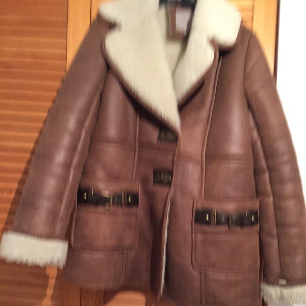 River island shearling coat size 10