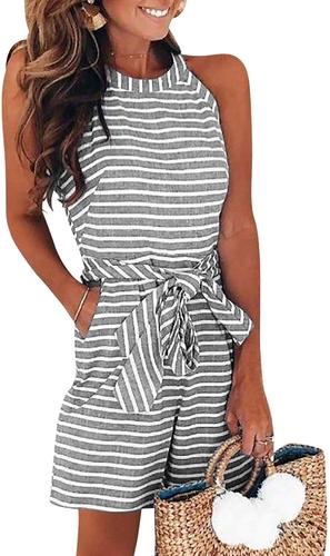Women's striped high waisted playsuit shorts with belt