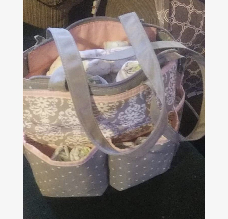 Grey/Pink Diaper Bag w/ Diapers inc.