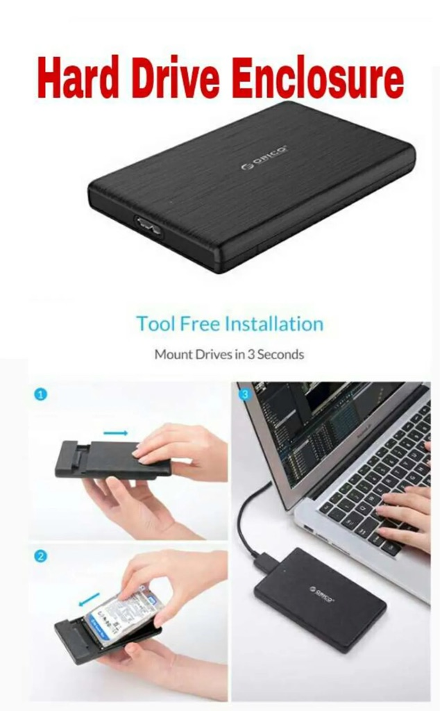 2.5 inch USB 3.0 SATA External Hard Drive Enclosure case with Grid Texture Design Tool Free for HDD and SSD Up to 2TB -Black (new)