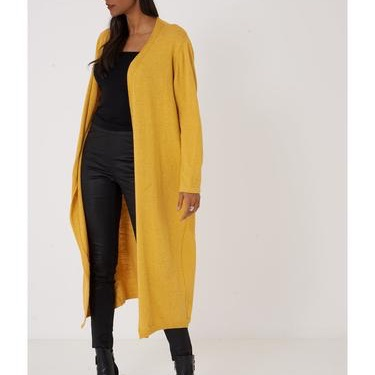 Longline yellow knitted cardigan