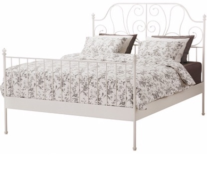 Ikea, ivory floral bed frame ( double)
