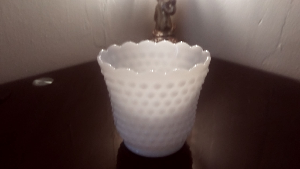 Vintage White Glass Fire Hobnail Vase