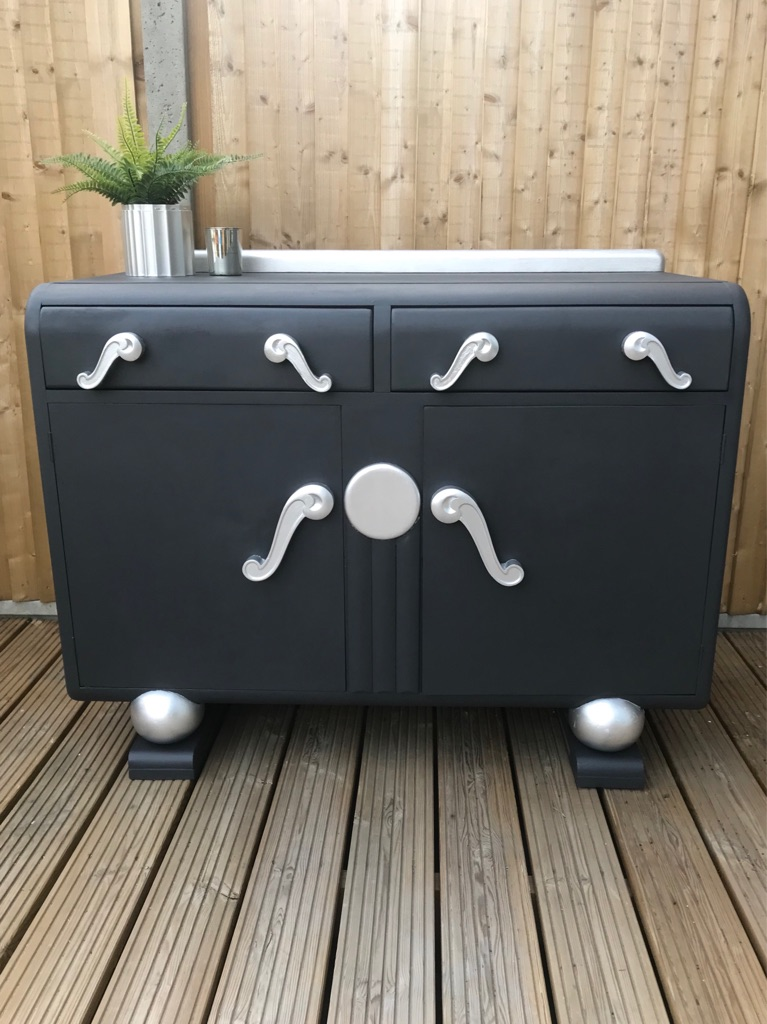 Dark grey & silver buffet sideboard cabinet. Free local delivery