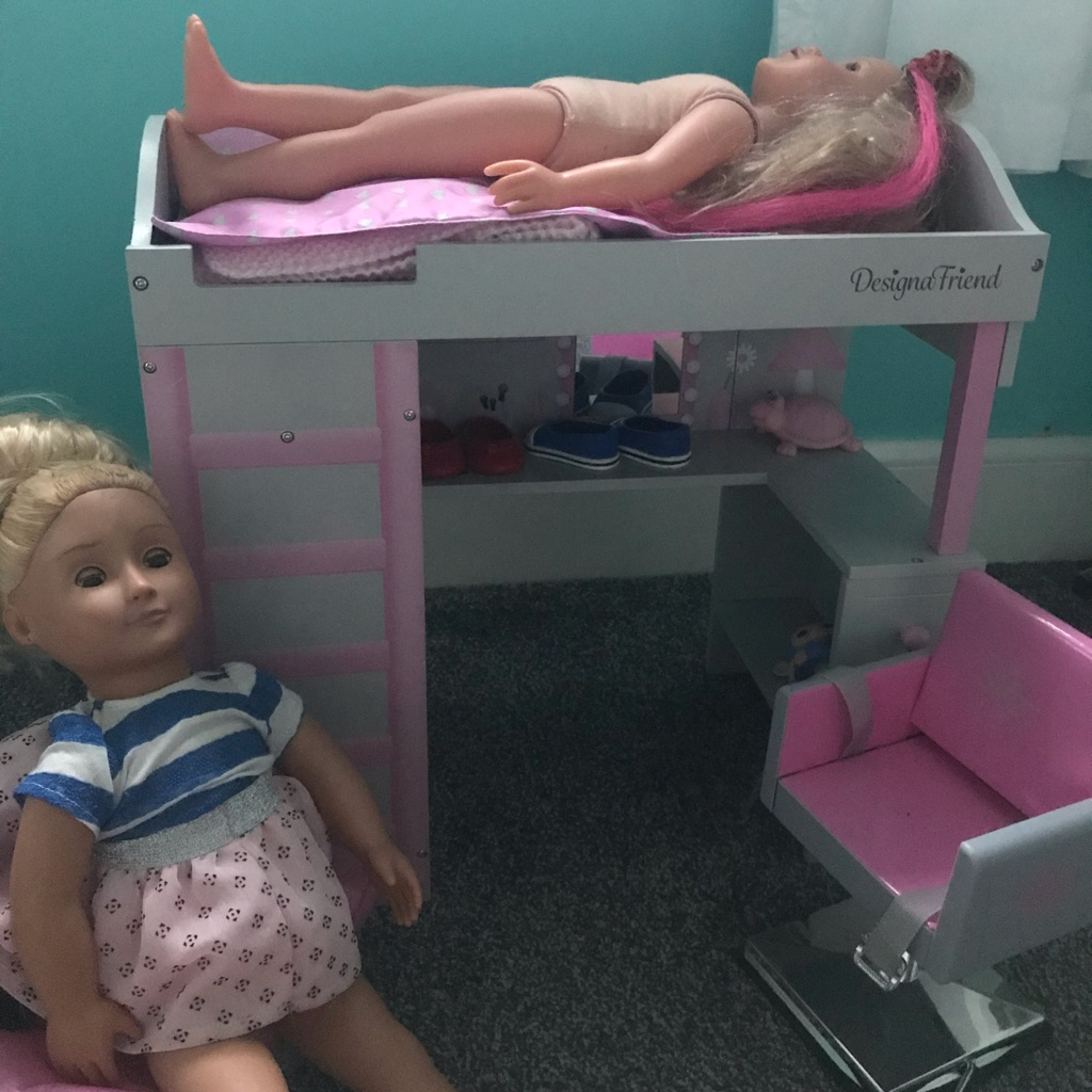 Designer doll bunk bed with storage and doll